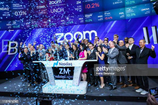 Confetti falls as Zoom founder Eric Yuan rings the Nasdaq opening bell on April 18 2019 in New York City The videoconferencing software company...