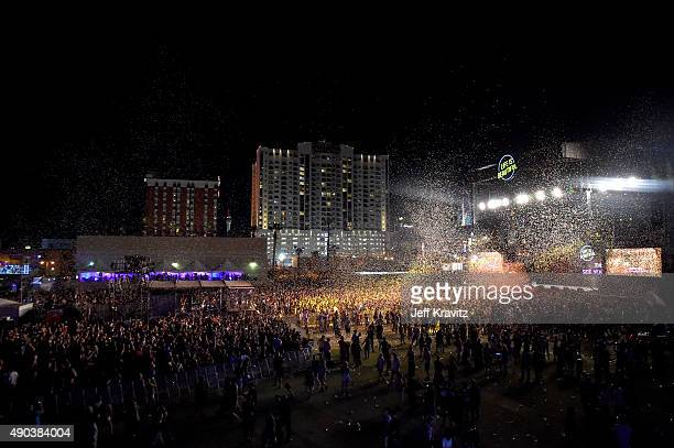 Confetti falls during the day 3 finale of the 2015 Life is Beautiful festival on September 27 2015 in Las Vegas Nevada
