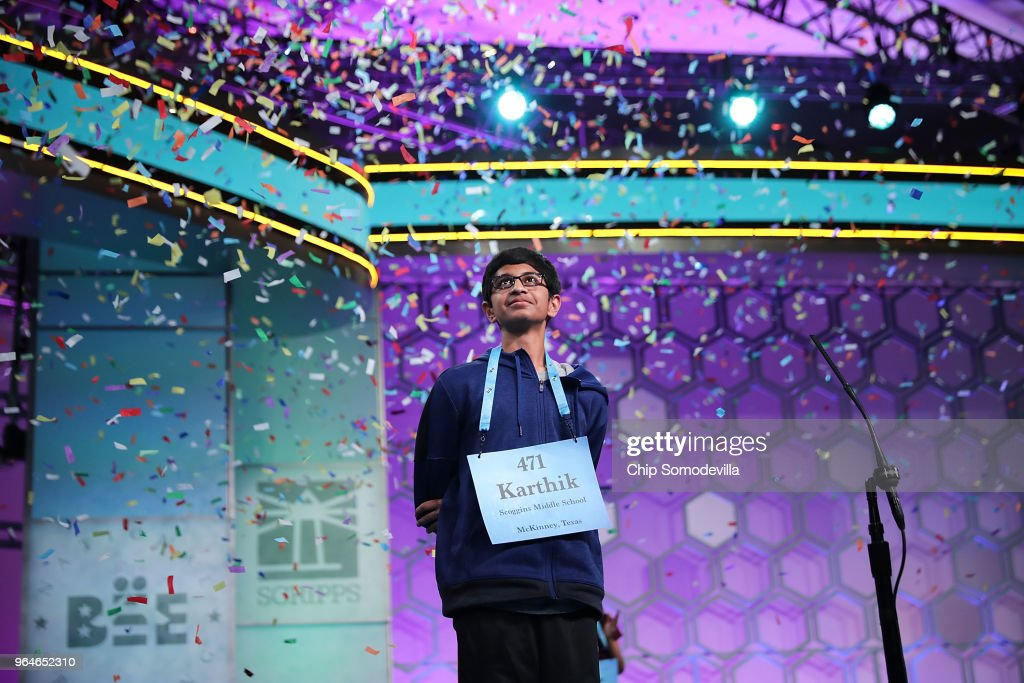 Confetti falls from the ceiling after Karthik Nemmani correctly spelled the word 'koinonia' to win the 91st Scripps National Spelling Bee at the Gaylord National Resort and Convention Center May 31, 2018 in National Harbor, Maryland. Forty one finalists were selected to participate in the final day after a record 516 spellers were officially invited, up from 291 in 2017 .