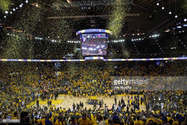 Confetti falls on the court after the Golden State Warriors win Game One of the 2017 NBA Finals against the Cleveland Cavaliers on June 1 2017 at...