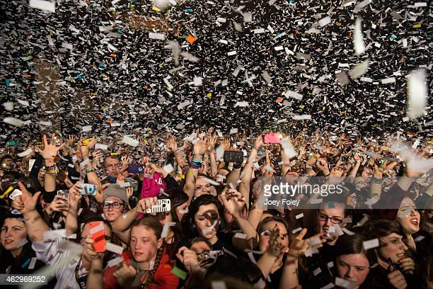 Confetti falls on the sold out crowd as Pierce The Veil starts their set in front of a sold out crowd at Egyptian Room at Old National Centre on...