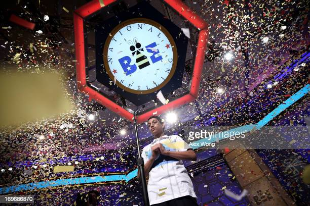 Confetti falls over Arvind Mahankali of Bayside Hills New York after the finals of the 2013 Scripps National Spelling Bee May 30 2013 at Gaylord...
