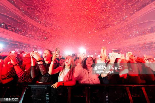 Confetti falls over the audience at the beginning of Lewis Capaldi's concert at Usher Hall on December 5 2019 in Edinburgh Scotland