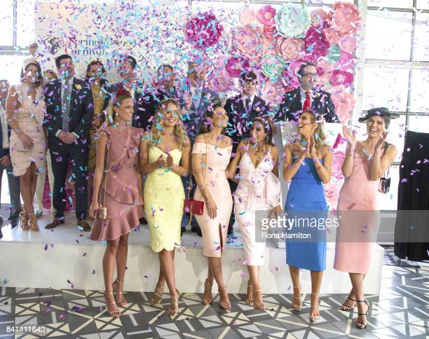Confetti falls to mark the official launch of Spring Carnival at Greenfields on September 01 2017 in Albert Park Australia
