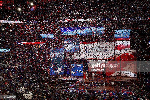 Confetti flies after Mitt Romney Republican presidential candidate unseen speaks at the Republican National Convention in Tampa Florida US on...