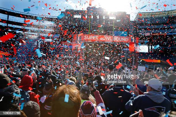 Confetti flies during a Super Bowl sendoff rally at Gillette Stadium in Foxborough MA on Jan 27 2019 The rally ahead of Super Bowl LIII gave...