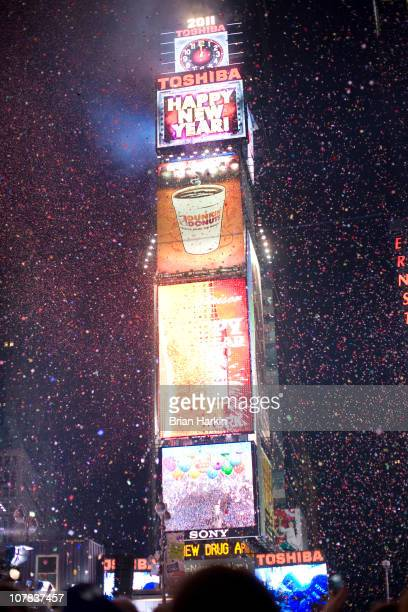 Confetti flies through the air in Times Square just after the annual ball drop January 01 2011 in New York City This year a 11875pound Waterford...