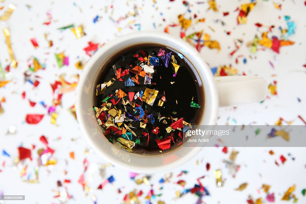 Confetti in Coffee Mug : Stock Photo