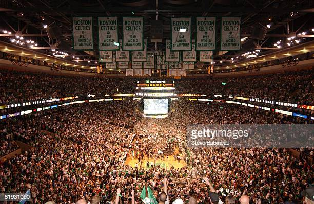 Confetti is dropped after the Boston Celtics defeated the Los Angeles Lakers in Game Six of the 2008 NBA Finals on June 17, 2008 at TD Banknorth...