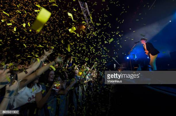 Confetti is fired from cannons as Declan McKenna performs live on stage at The Ritz Manchester on October 23 2017 in Manchester England