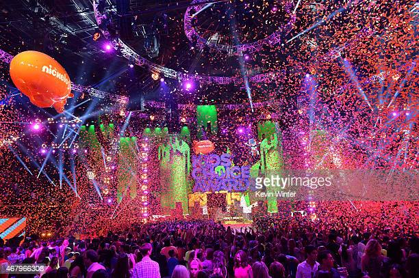 Confetti is released during the finale onstage during Nickelodeon's 28th Annual Kids' Choice Awards held at The Forum on March 28 2015 in Inglewood...