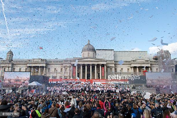 Confetti is shot into the air as athletes assemble during the Olympics and Paralympics Team GB Rio 2016 Victory Parade in Trafalgar Square in London...