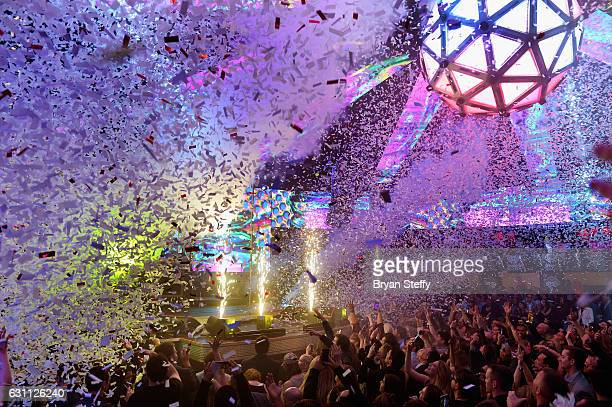 Confetti is shot over the crowd as The Chainsmokers perform during the iHeartMedia CES 2017 celebration on January 6 2017 in Las Vegas Nevada