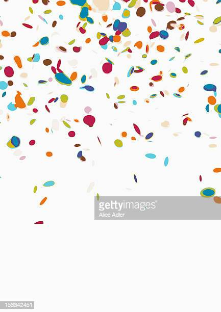 confetti on a white background - confetti stock pictures, royalty-free photos & images