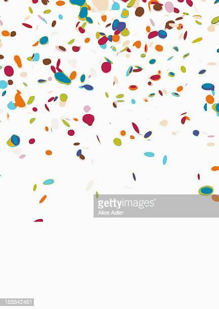 confetti on a white background - konfetti stock-fotos und bilder