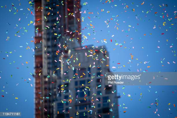 confetti - usa parade stock photos and pictures