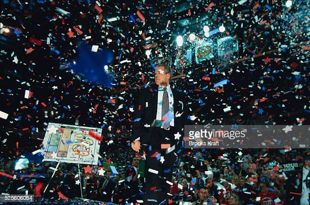 Confetti rains down on Republican presidential candidate George W Bush during a campaign rally in Milwaukee Wisconsin The Texas governor used the...