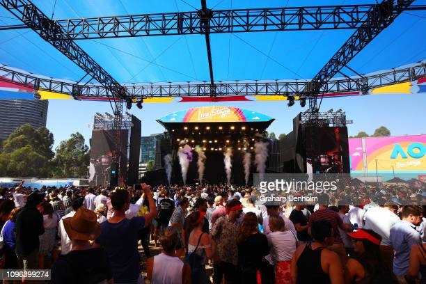Confidence Man perform on the AO Live Stage during day six of the 2019 Australian Open at Melbourne Park on January 19, 2019 in Melbourne, Australia.