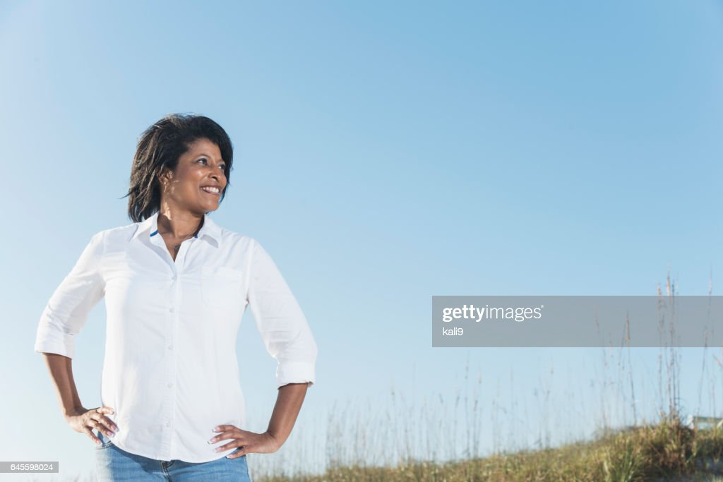 Confidence Mature Black Woman Hands On Hips Stock Photo ...