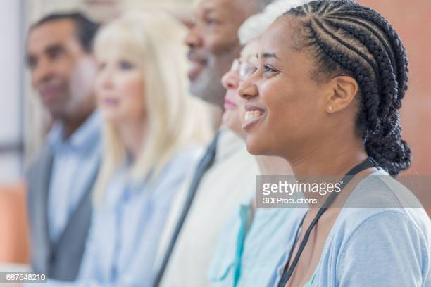 Confident African American businesswoman at a conference