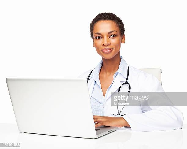 Confident African American Female Doctor Using Laptop - Isolated