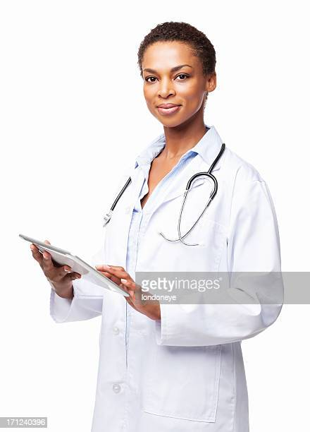 Confident African American Female Doctor With a Tablet Computer-Isolated