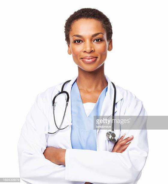 confident african american female doctor with arms crossed - isolated - coat stockfoto's en -beelden