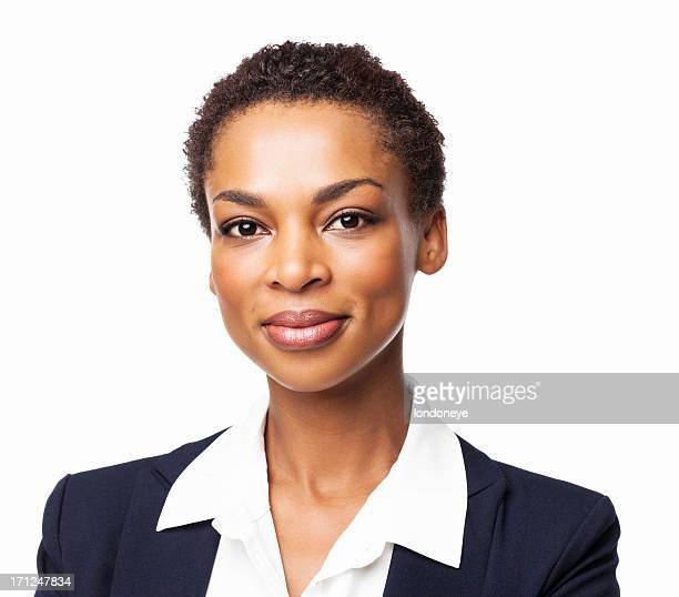 confident african american female executive - isolated - zwart pak stockfoto's en -beelden