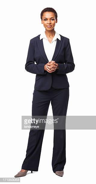 confident african american female executive - isolated - white background stockfoto's en -beelden