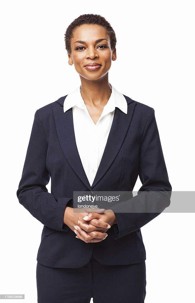 Esecutivo femmina fiducioso afro-americana isolato : Foto stock