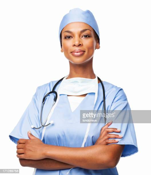 Confident African American Female Surgeon - Isolated