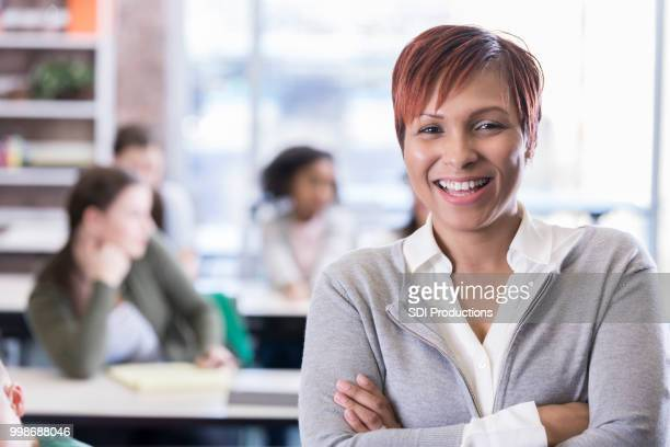 confident african american school teacher - school principal stock pictures, royalty-free photos & images