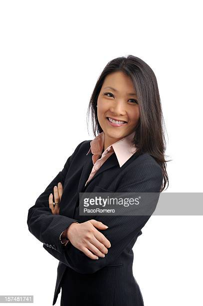 confident asian businesswoman in business suit - three quarter length stock pictures, royalty-free photos & images