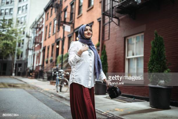 confident bengali muslim young woman - religious dress stock photos and pictures