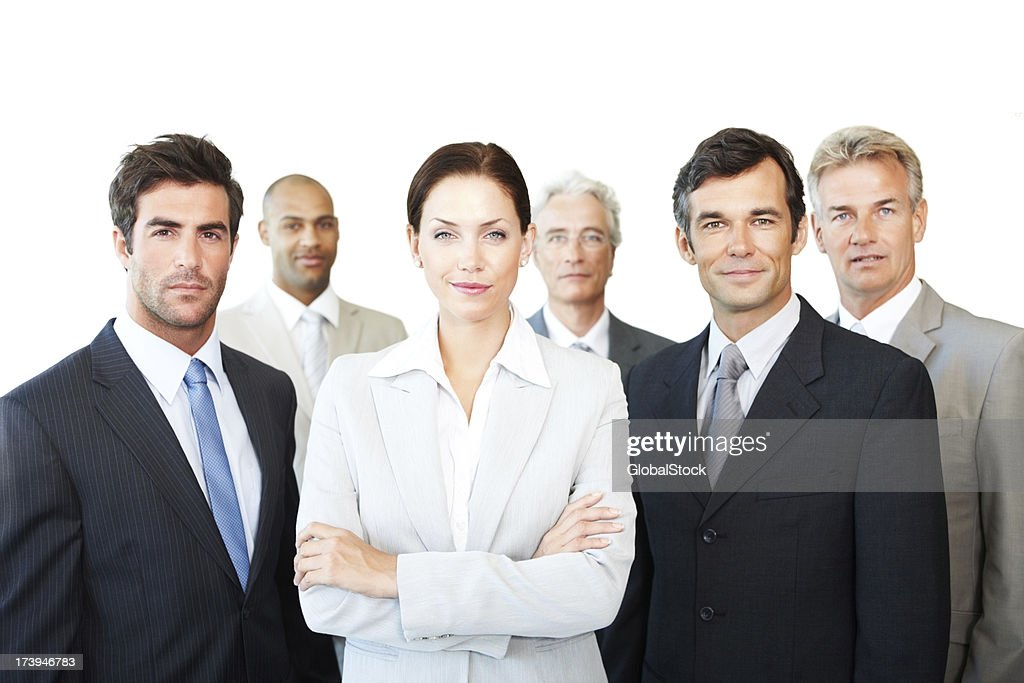 Zuversichtlich Kollegen zusammen stehen : Stock-Foto