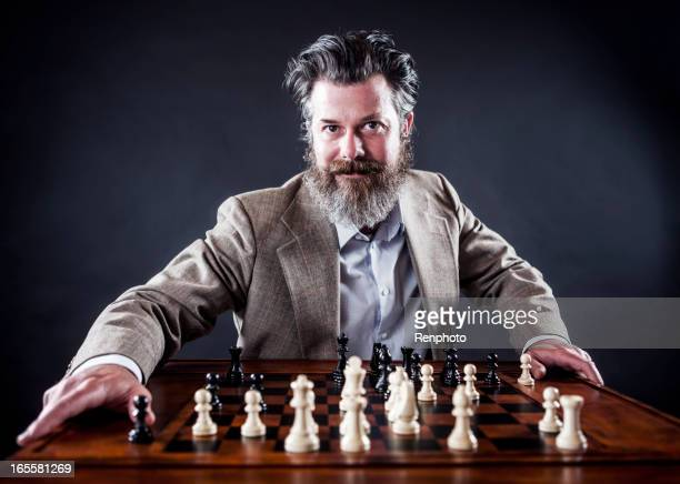 Confident Business Man Playing Chess