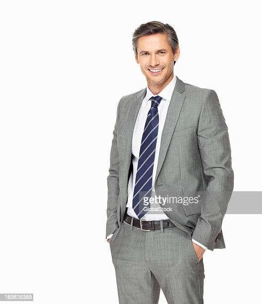 Zuversichtlich business Mann mit Händen in den Taschen
