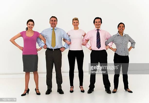Confident business team united