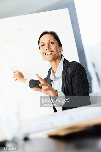 Confident businessowman giving a presentation on whiteboard