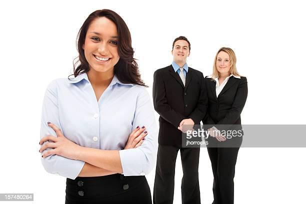confiante mulher de negócios e sua equipe - colarinho aberto - fotografias e filmes do acervo