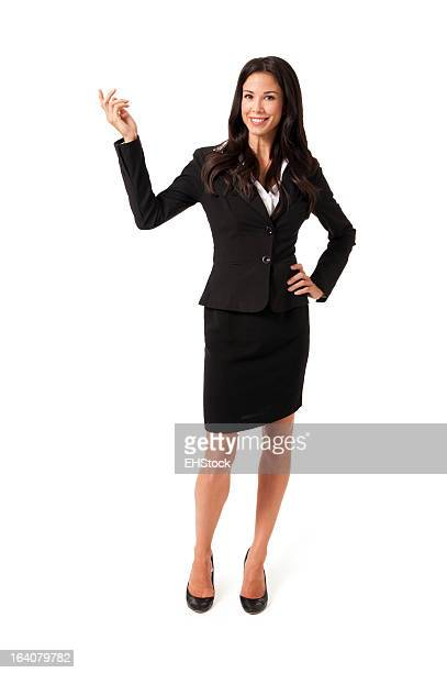 Confident Businesswoman Gesturing Isolated on White Background