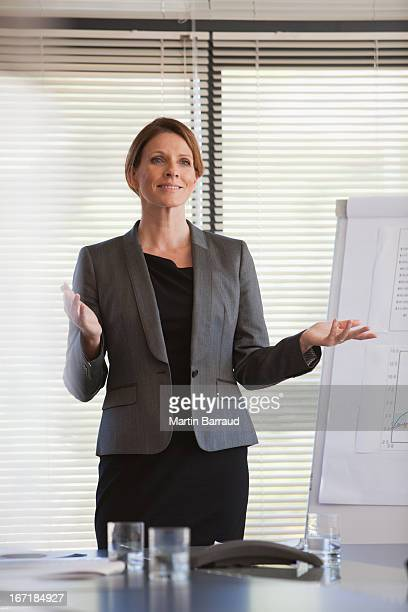 Confident businesswoman giving presentation