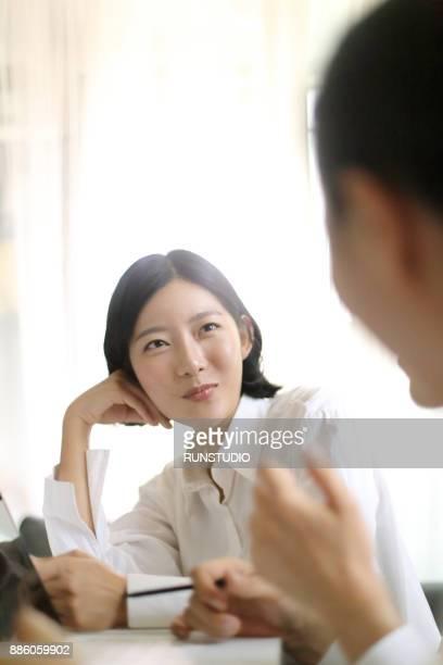 Confident businesswoman in meeting