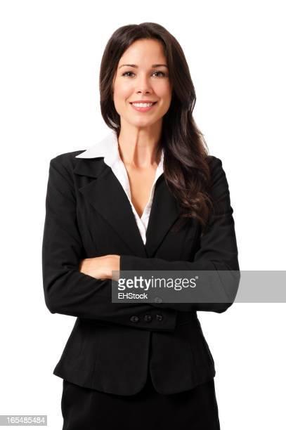 Zuversichtlich Geschäftsfrau isoliert auf weißem Hintergrund