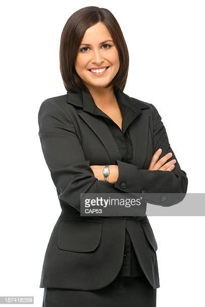 Confiant Femme d'affaires sur un fond blanc