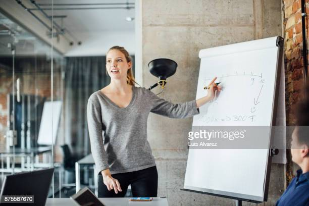 confident businesswoman writing on flip chart - vortrag stock-fotos und bilder
