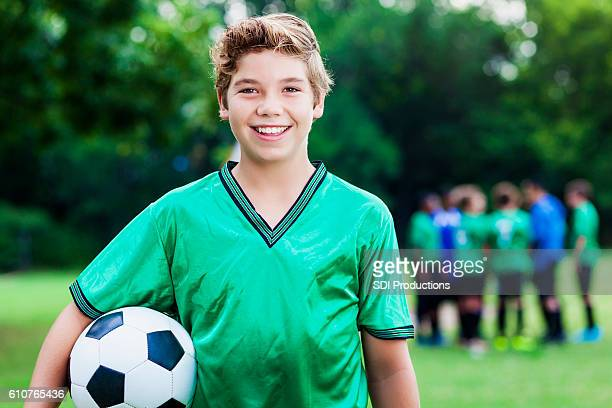 confident caucasian soccer player after game - football strip stock pictures, royalty-free photos & images