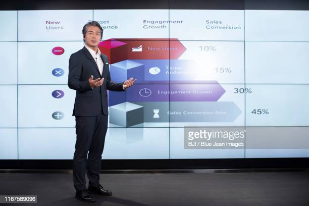 confident chinese businessman giving presentation - colletto aperto foto e immagini stock
