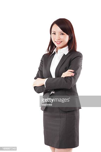 Confident Chinese Businesswoman Arms Crossed Looking at Camera Smiling