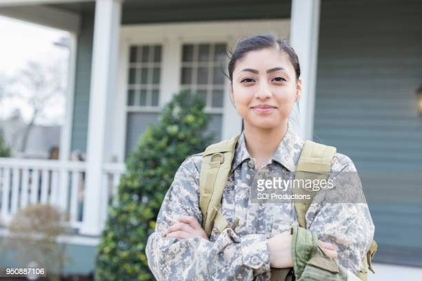 Confident female soldier